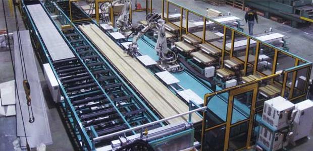 Production line of large sandwich panel